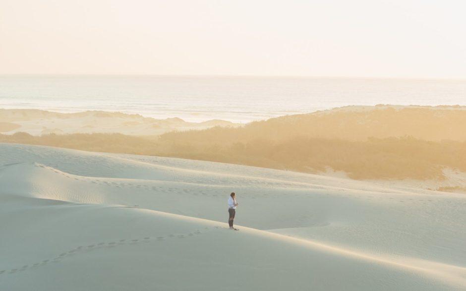 砂丘の上にたたずむ人